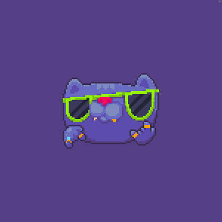 Pixel art cool badass cat with golden teeth and green sunglasses on violet background Иллюстрация