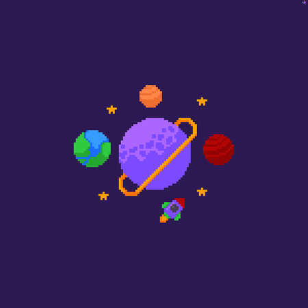Pixel art space scene with different planets, stars and rocket
