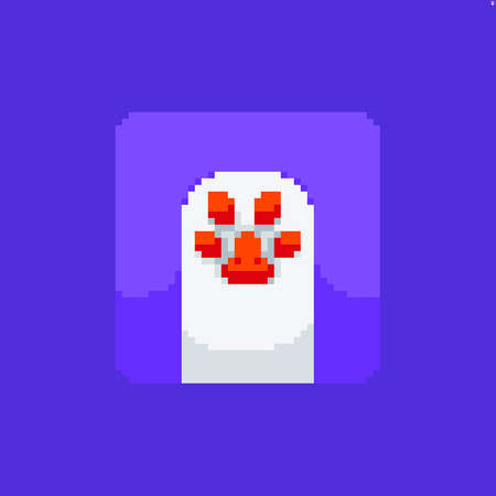 Pixel art cute white cat's paw icon on violet background Иллюстрация