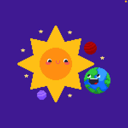 Pixel art solar system with cute Sun and Earth, and other small planets and stars