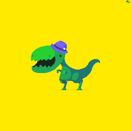Pixel art green dinosaur with cute hat with tiny flower on yellow background Иллюстрация