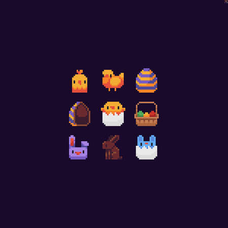Tiny pixel art Easter icons with chick, bunny, egg and chocolate