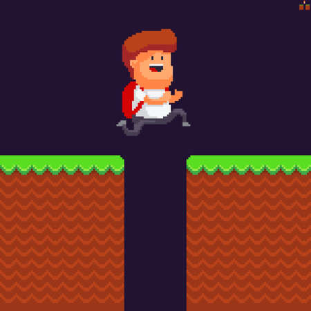 Pixel art scene with male character jumping over hole in grass ground