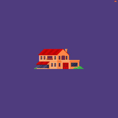Pixel art building, family two storey estate isolated on violet background