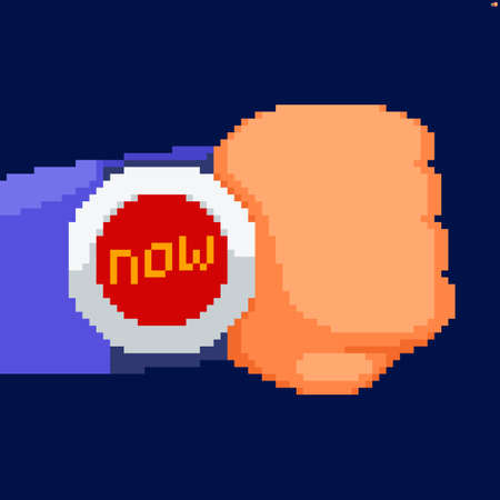 Pixel art hand with watch showing now text instead of time