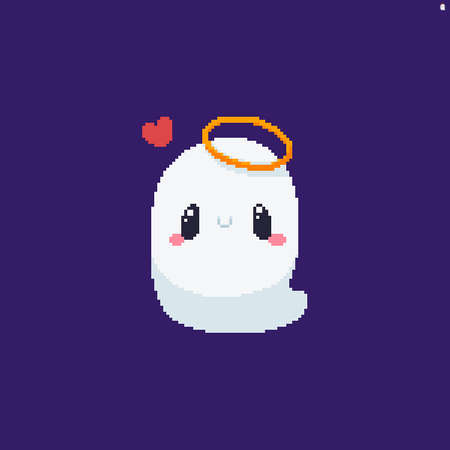 Lovely pixel art ghost with numbus and tiny heart