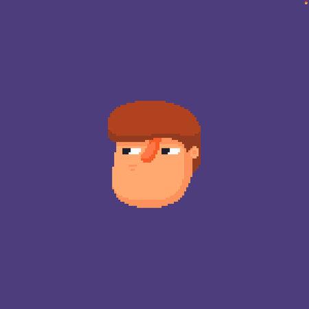 Pixel art male character head expressing sceptical emotion Иллюстрация