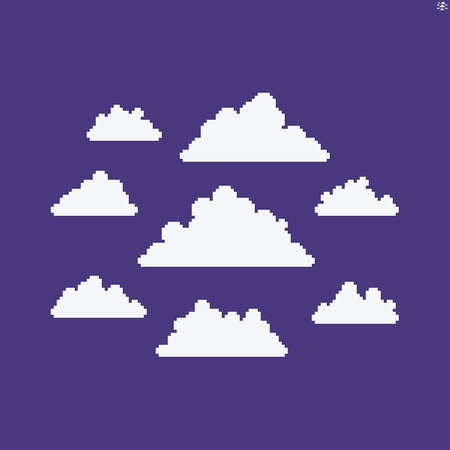 Multiple pixel art cloud icons of different sizes and shapes isolated on violet background
