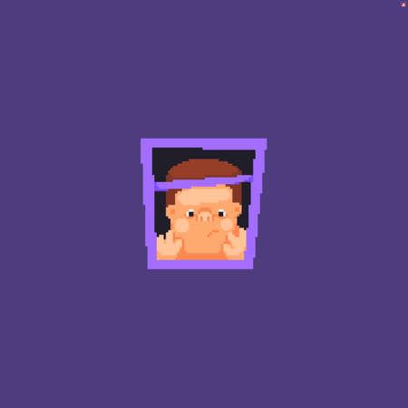 Pixel art kid leaning against the glass of the window, looking from the inside out Иллюстрация