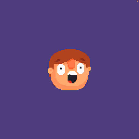 Pixel art surprized male character head isolated on violet background