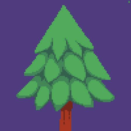 Beautiful pixel art green fir tree on violet background Иллюстрация