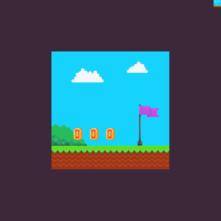 Pixel art videogame scene with red finish flag, coins, bush, clouds, grass and soil Иллюстрация