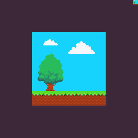 Pixel art scene with green grass, soil, tree and clouds