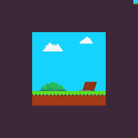 Pixel art summer scene with clouds, bush, trapdoor, grass and soil