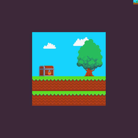 Pixel art scene with locked wooden chest, leaf tree, sky and clouds, grass and soil