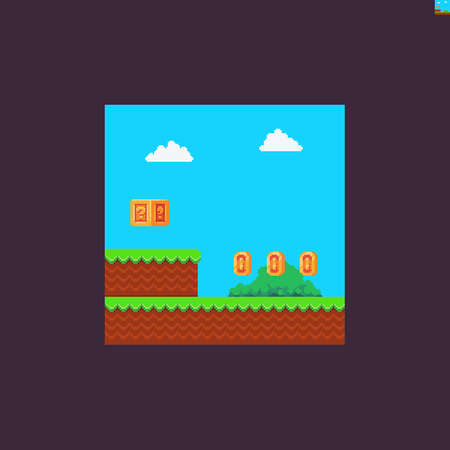 Pixel art game scene with grass, golden coins, mystery box, bush and clouds