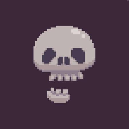 Pixel art funky skull isolated on dark background