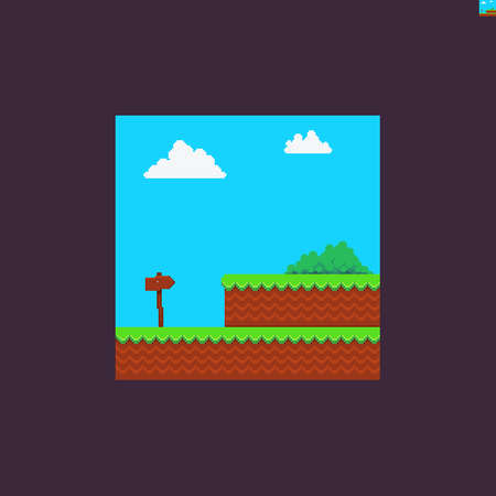 Pixel art bright scene with green grass, bush, wooden arrow direction sign and clouds Иллюстрация
