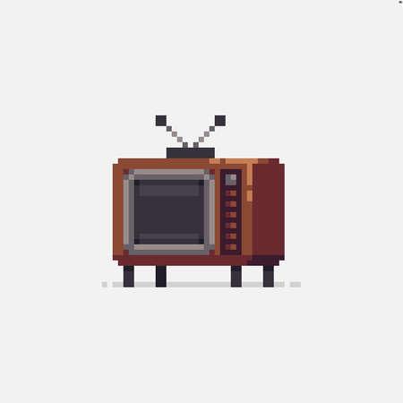 Pixel art retro wooden analog tv icon