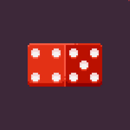 Pixel art icon of red dice, four and five dots side, isolated on dark background