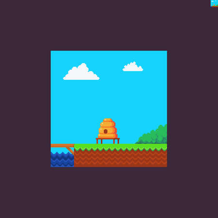 Pixel art scene with water, sky and clouds, bush, grass and soil, beehive Иллюстрация