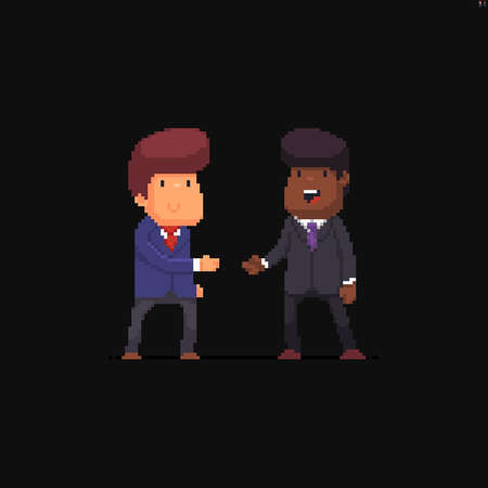 Two cheerful pixel art male characters in office suits with different skin color ready to shake hands