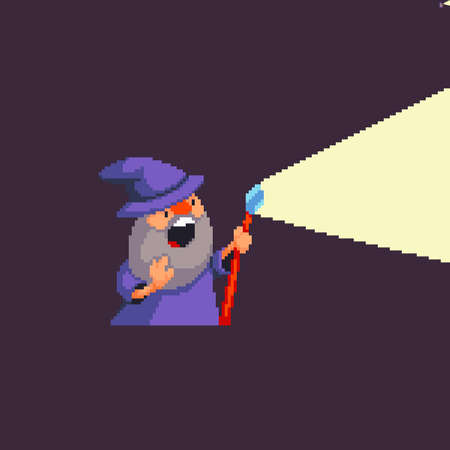 Pixel art wizard casting spel with light emitting out of his magic staff