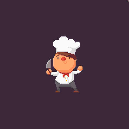 Funky pixel art chef character holding knife