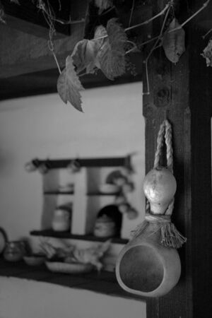 Gourd hanging in an old kitchen - Black and White Stock fotó