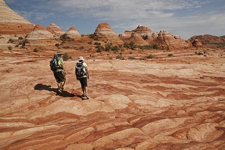 Hikers in hot desert area