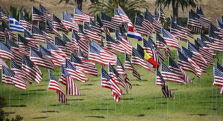 commemorating: Display  of flags commemorating September 11 victims