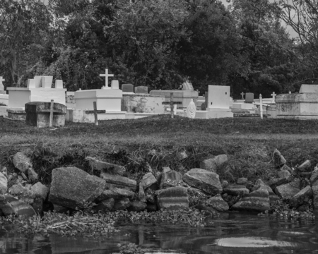Cemetary situated along the waterways and bayous of New Orleans, Louisiana Stock Photo