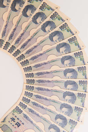 Japanese Yen,1000 yen on white background , Japanese currency yen bank