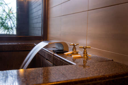 Bathtub and washbasin in hot spring soup house ( shower,  spa,  steam) Stock fotó - 133463222