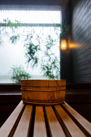Bathtub and washbasin in hot spring soup house ( shower,  spa,  steam) Stock fotó - 133463489