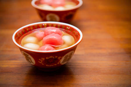 Chinese sweetheart soup, longan and red dates, Text: Chinese means happiness