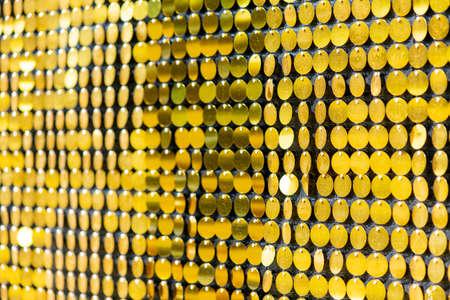 Sequins reflective background. Golden Sequins wall, Sparkling Zdjęcie Seryjne