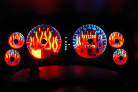 flaming: flaming dashbord Stock Photo