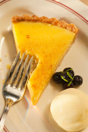 lemon tart with macadamia nut crust, Cafe Luck, Santa Barbara, California, United States of America