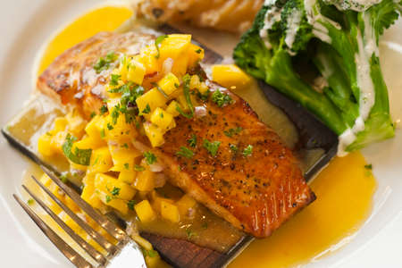 cedar plank cooked salmon with mango salsa, Restaurant Jane, Santa Barbara, California, United States of America