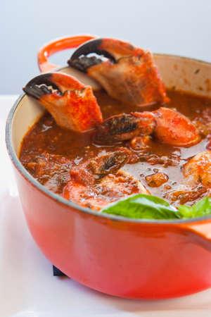 crab pot: pot of crab cioppino, Ciopinot Restaurant, San Luis Obispo, California, United States of America