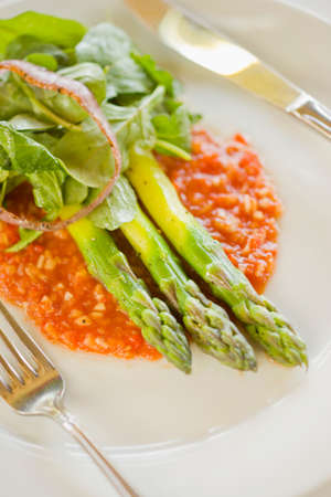 asparagus on a bed of gazpacho salsa and arugula