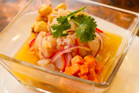 Ceviche Peruano, close-up