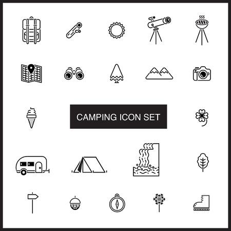 cascade mountains: camping icon set Illustration