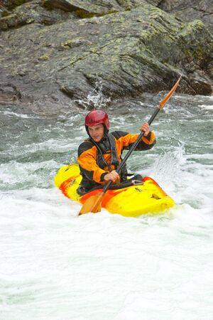 Kayaking. Waterfalls in Norway. July 2010 스톡 콘텐츠