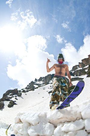 Freerider in Caucasus Mountains