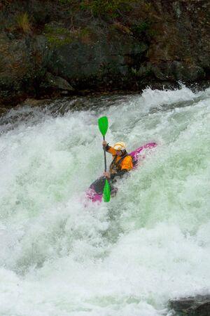 Kayak trip on the waterfalls in Norway. Stock Photo - 7629259