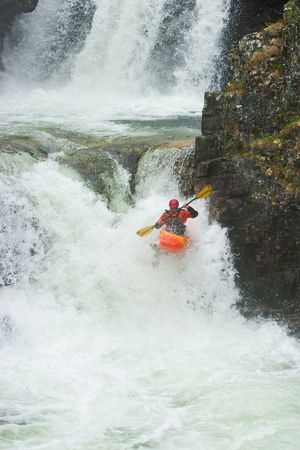 Kayak trip on the waterfalls in Norway. July 2010 版權商用圖片 - 7667775