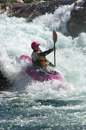 kayaker: Waterfalls in Norway