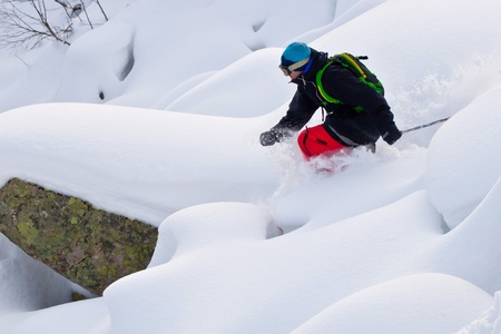 Freerider skiing in Siberia photo